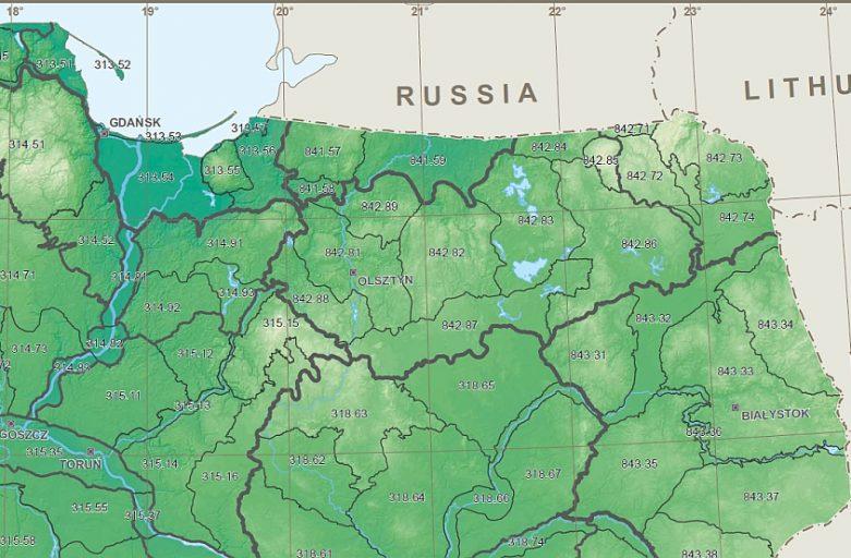 Fragment mapy z artykułu w Geographia Polonica